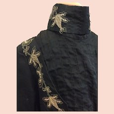 Antique Victorian 3 Pc Ladies Jacket w/Boning Deep Green Embroidery