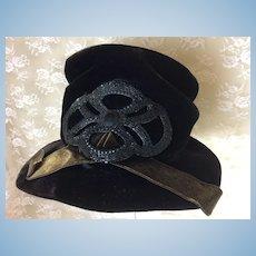 Vintage Velvet Hat w/ Beaded Trim Ladies 1930's-40's