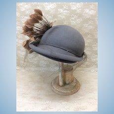 Vintage Felt & Feather Ladies Hat Emery Thayer Kansas City