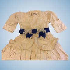 Gorgeous Cream and Sapphire Dress for Antique Doll