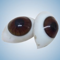 Large Antique 24 mm French Glass Doll Eyes