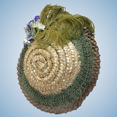 Antique Silk Lined Straw Hat for Bebe