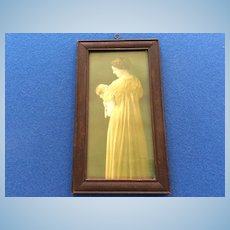 "Early 9""  Mother & Baby Photo in Wooden Frame for Doll Display"