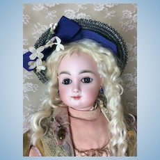Early Blue Woven Hat for Antique Doll