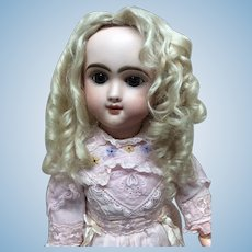 STUNNING Antique Pale Blonde Curly Mohair Wig 11 1/2""