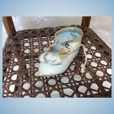 Antique French Single Shoe Pale Blue Cloth