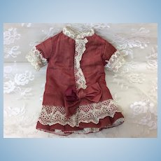 "Tiny Antique Silk Dress 9-10"" French Doll"