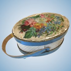 """Antique 3"""" Hat Box For French Fashion or Small Bebe"""