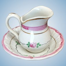 Antique French Pitcher & Bowl Toilette Set For Doll