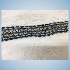 Antique Metallic Lace with Jumeau Blue Beads