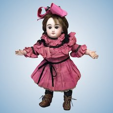 Sz 2 Antique French Bebe in Antique Dress & Boots