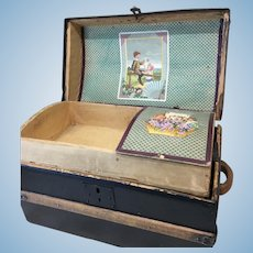 "Beautiful 14"" Antique Trunk For Doll Display"