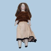 """Antique 6"""" Doll House Doll Bisque and Cloth"""