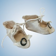 """2"""" Antique French Cloth Shoes w/ Buckles For Small Bebe"""
