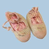 Pink and Cream Booties w/ Silk Ribbon For Antique Doll