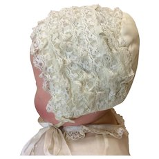 Vintage Silk & Lace Bonnet For Large Dydee or other Baby Doll