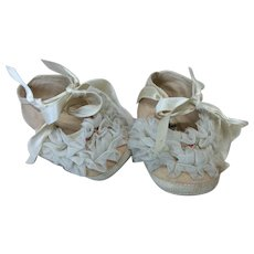 Frilly Beribboned Shoes For Large Doll or Baby Doll