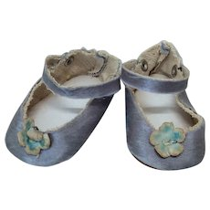 Unusual Silk Double Snap Vintage Doll Shoes