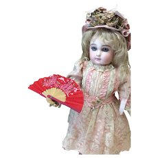 Vintage Poinsettia Wood and Paper Fan For Antique Dolls Christmas