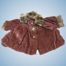 Small Crushed Velvet & Fur Swing Coat