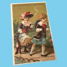 """""""Promenade de notre Bebe"""" Antique French Card Girls with Dolls"""