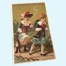 """Promenade de notre Bebe"" Antique French Card Girls with Dolls"