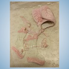 Lovely Pink Silk Booties & Bonnet For Large Baby Doll