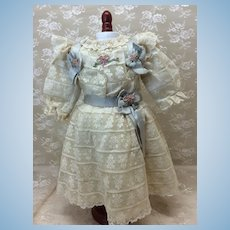 Gorgeous Antique Lace Dress for Cabinet Size Doll