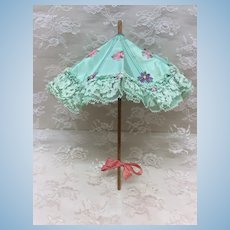 "Sweet Vintage Wood Handled  10"" Doll Parasol Umbrella"