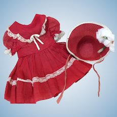 Vintage Large Valentine Red Organdy Dress & Bonnet Compo Hard Plastic Doll