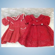2 Vintage Valentine Red Doll Dresses Mid to Large Compo Hard Plastic