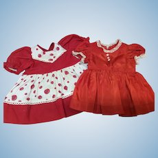 Two Vintage Valentine Dresses For Compo or Hard Plastic Dolls