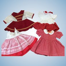 Four Vintage Valentine Red Dresses For Compo or Hard Plastic Dolls