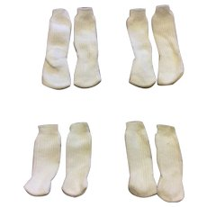 Four Pair Unused Small Cotton Doll Socks