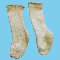 Small Antique Woven Doll Socks Cream Fashion or Small Bebe