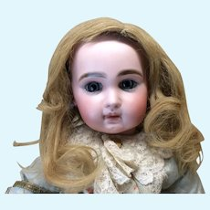 "Large 14-15"" Antique Golden Blonde Human Hair Wig For Doll"