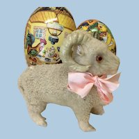 Small Antique Lambskin Covered Goat For Doll Display
