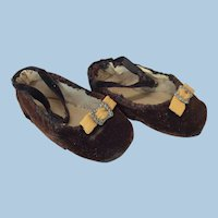 Beautiful Brown Velvet Antique Doll Shoes