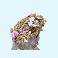 Antique Fancy Hat for Small Bebe or Fashion Doll