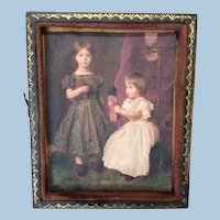 Antique Miniature Frame with Child Print Doll House or Display