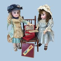 Four Miniature French Antique Games Doll Display