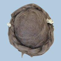 Pretty Antique Mohair Braided Updo w/Flowers Doll wig