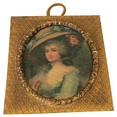"""1 1/2"""" Antique Miniature Frame W/ Portrait Doll House"""