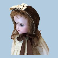 Antique Hand Sewn Velvet Bonnet for Doll