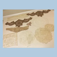 Large Lot of Antique Lace Sewing Doll Dresses or Other