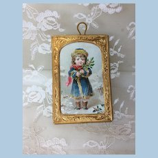 Sweetest Antique Miniature Ormolu Framed Picture