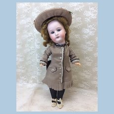 "Antique Heubach 15"" Bisque Doll Nicely Dressed"