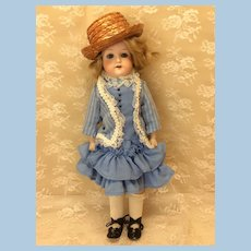 "Antique ""Washable"" Riveted Leather Body AM 370 Bisque Doll"