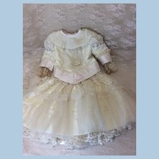 "Silk & Lace 2 Pc Couture Ensemble 24-25"" Antique Doll"