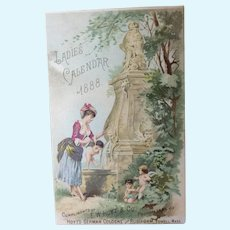 Ladies 1888 Calendar Trade Card for Fashion Doll Display